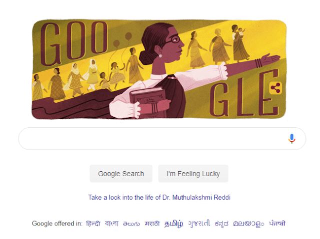 Recalling Dr. Muthulakshmi Reddy, the nation's first woman MLA, a unique doodle made by Google