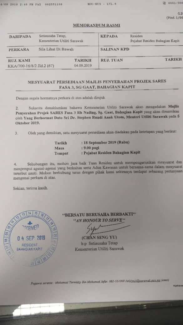 Majlis Penyerahan Projek SARES Fasa 3 Di Rumah Nading, Nanga Selentang, Gaat Kapit