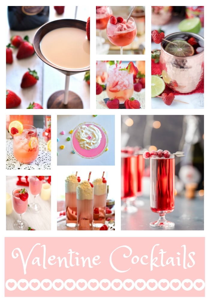 Valentine's Day Cocktails, Valentine inspired Cocktails, Conversation Hearts Vodka Martini, Raspberry Pink Champagne Floats, Strawberry Rose Sangria,  Strawberry Moscow Mules,  Cupids Pink Arrow Cocktail, Raspberry Italian Cream Soda, Strawberry Mimosa, Chocolate Strawberry Martini,   Sugared Cranberry Ginger Mimosas