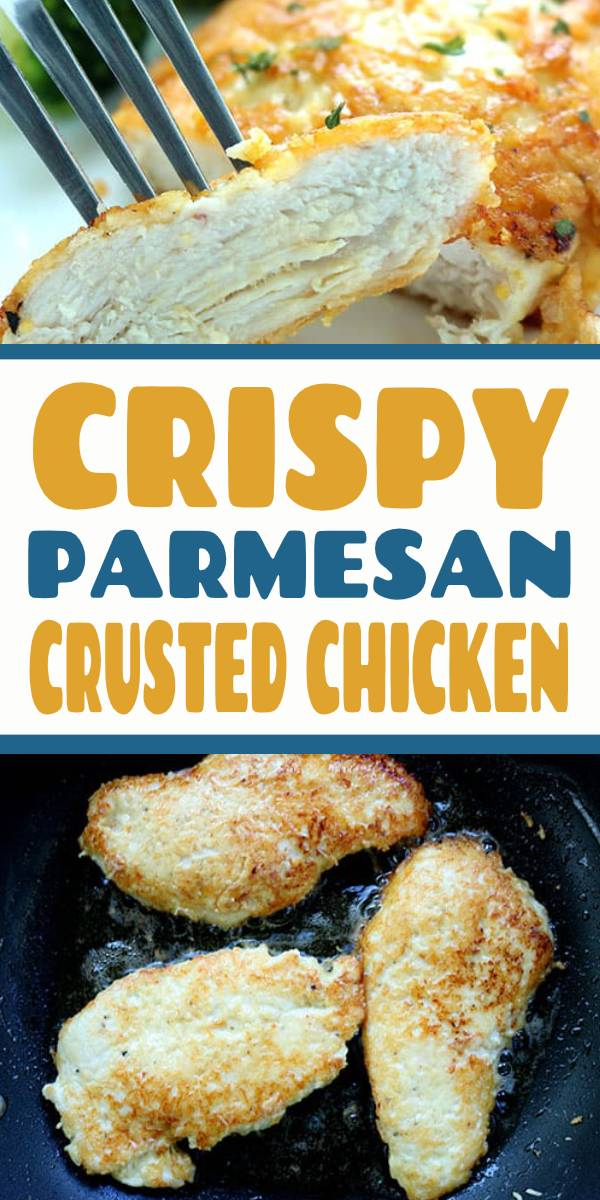 Crispy Parmesan Crusted Chicken | This Parmesan Crusted Chicken is an easy meal idea. We use pounded thin chicken breasts, coat in a delicious Parmesan coating, and then fried to make them crispy. Add this chicken idea to your dinner this week. #DietFoodRecipes #parmesan #chicken #crustedchicken #chickenbreast