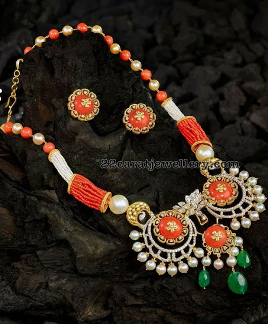 South Sea pearls Orange Coral Beads Set