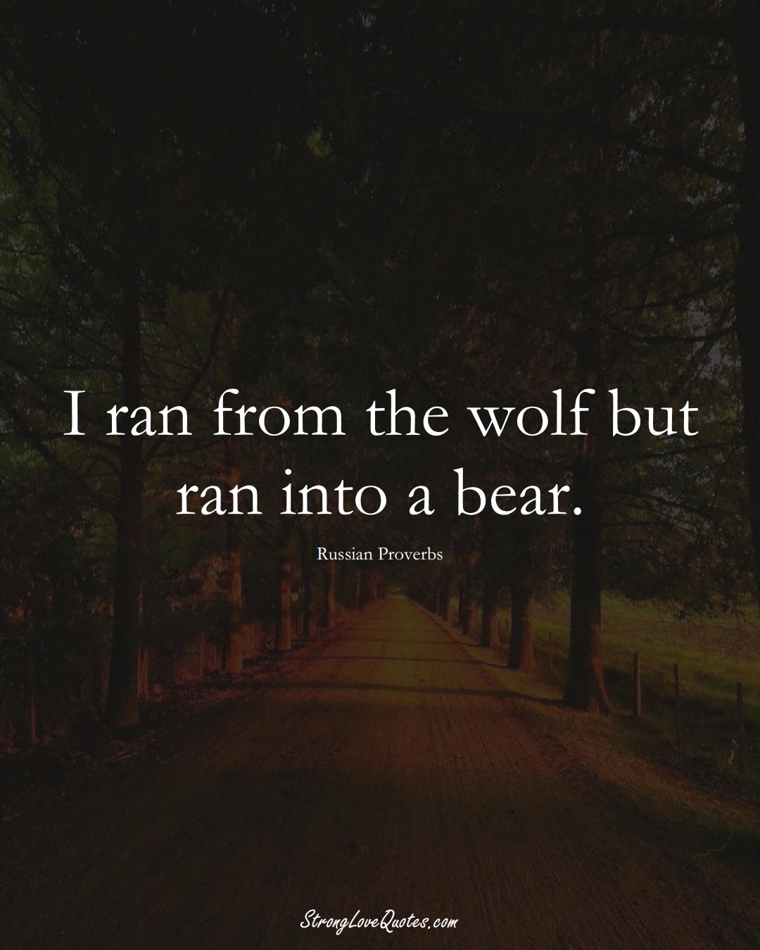 I ran from the wolf but ran into a bear. (Russian Sayings);  #AsianSayings