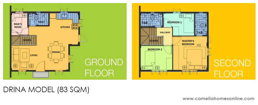Floor Plan of Drina - Camella Altea | House and Lot for Sale Bacoor Cavite