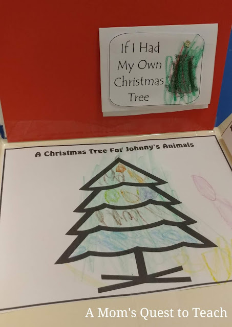 Two lapbook activities for A Christmas in the Barn - illustration of a Christmas tree for Johnny's Animals
