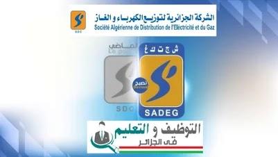 اعلان توظيف بالشركة الجزائرية لتوزيع الكهرباء والغاز SADEG