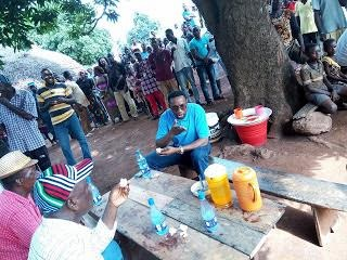 Photos of Benue Gov. Ortom In Local Akara & Akamu Joint In Gbajimba Villaate