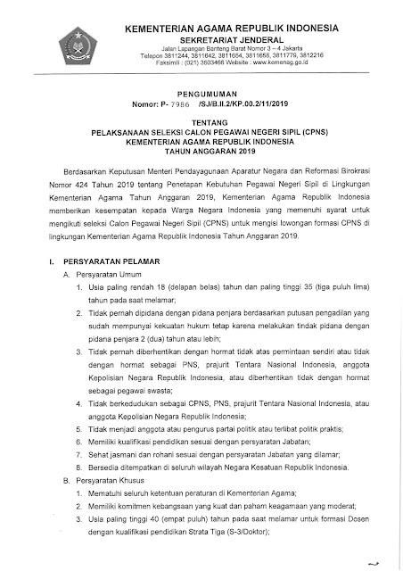 Rekrutmen CPNS Kementrian Agama Tahun Anggaran 2019 [5815 Formasi]