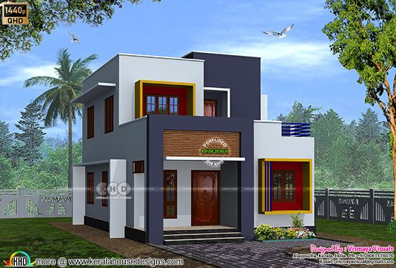2314 sq-ft 4 bedroom flat roof house