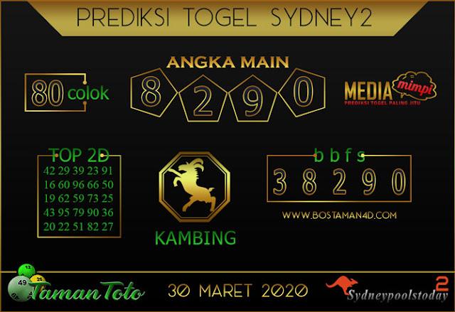 Prediksi Togel SYDNEY 2 TAMAN TOTO 30 MARET 2020