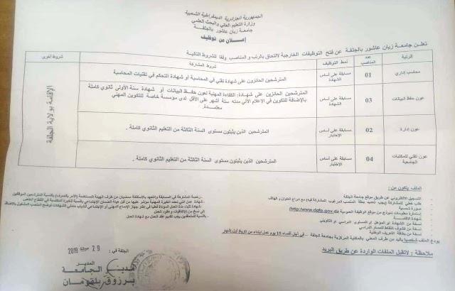 اعلان التوظيف بجامعة الجلفة