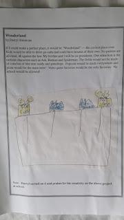 "Photo of Darryl Simmon's ""Wonderland"" essay and drawing."