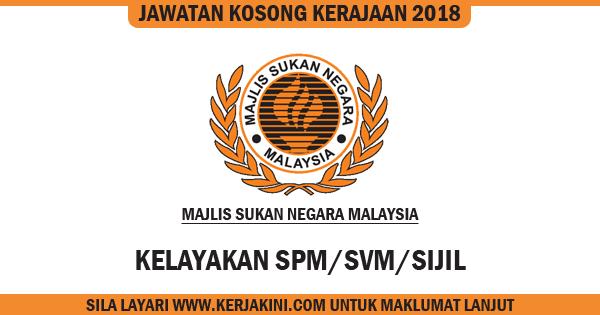 jawatan kosong 2018 majlis sukan negara malaysia