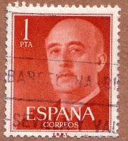 Sello de 1 peseta rojo.