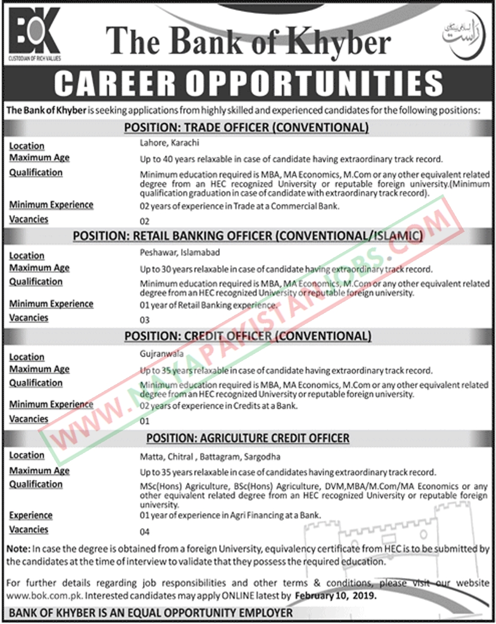 Bok Jobs, Bank of Khyber Jobs, The Bank Of Khyber Jobs 2019 for Multiple Positions