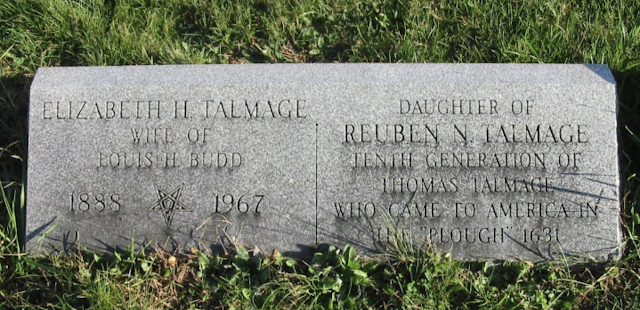 grave stone of Elizabeth H Talmage wife of Louis H Budd