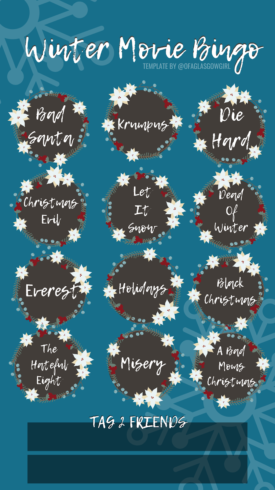 Winter movie bingo printable that can be used to track films you have watched or can be used as an instagram story template for playing movie bingo