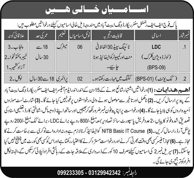Join Pakistan Army FF Regimental Center Record Wing Abbottabad Jobs 2021