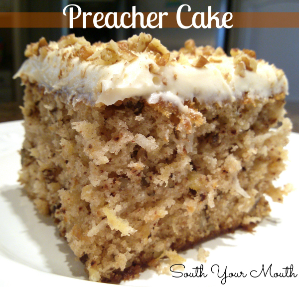 Tender, moist cake recipe with crushed pineapple, pecans and coconut with a cream cheese frosting. An old Southern tradition to make this cake when the preacher comes by for a visit!