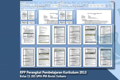 RPP Kelas 11 SMA-MA Kurikulum 2013 Semua Mata Pelajaran Revisi Terbaru