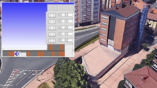 Vista aérea y plano del proyecto del centro de salud de Retuerto
