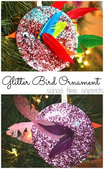 Glitter Bird christmas tree Ornament kids can make