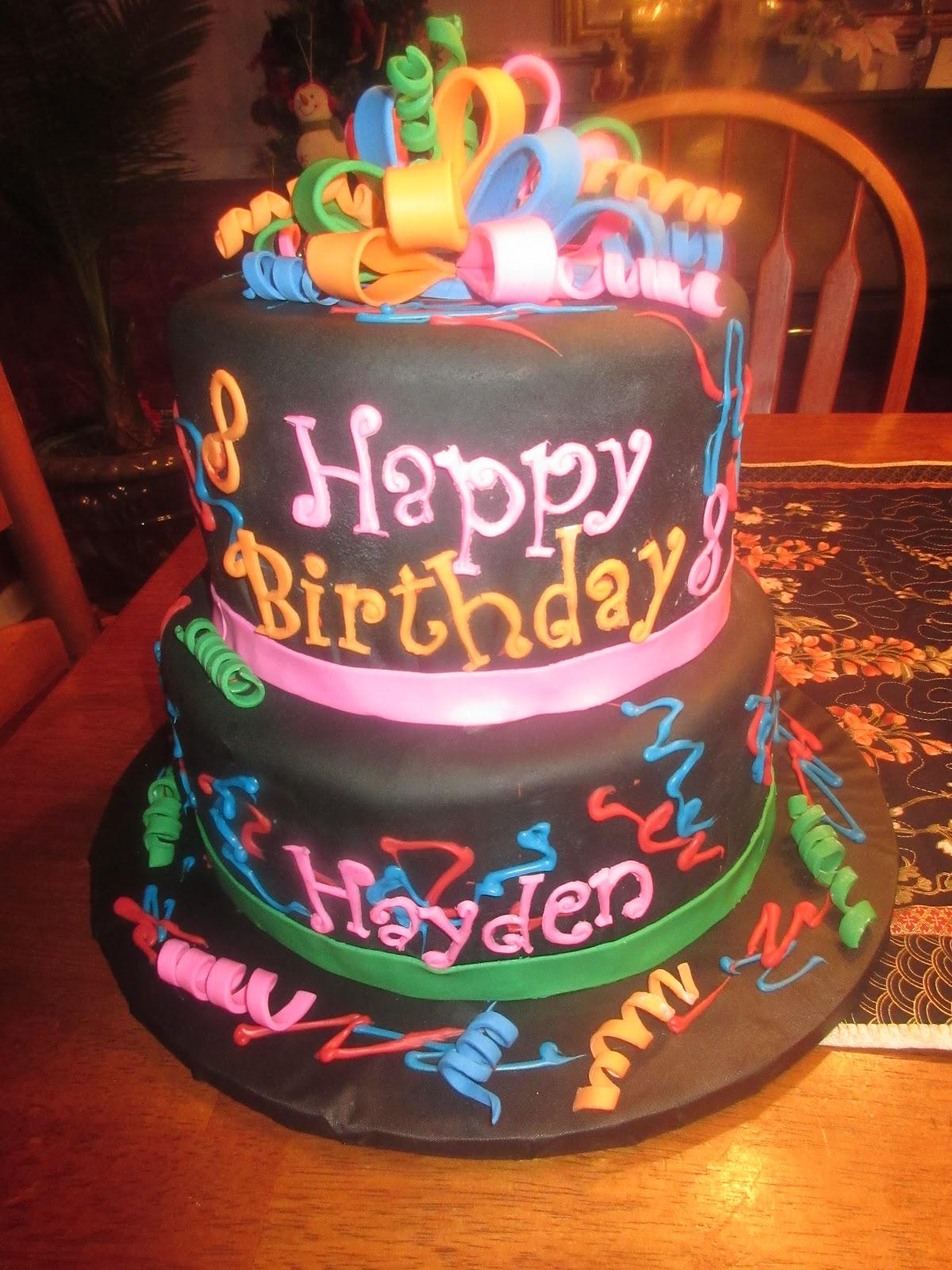 Neon Black Birthday Cake Cakes By Mary Ann