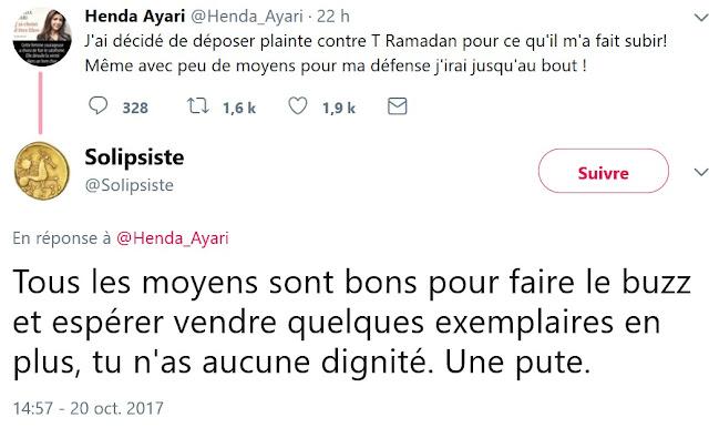 Henda Ayari accusée de porter plainte contre Tariq Ramadan pour vendre plus de livres