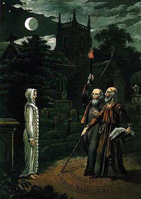Necromanzia: l'arte di evocare i morti e comunicare con loro, l'immagine di John Dee e Edward Kelley. Dall'astrologia (1806) di Ebenezer Sibly.