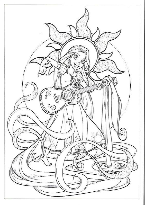 Tranh tô màu nàng công chúa tóc mây chơi đàn