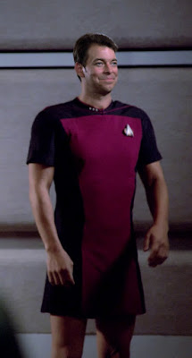 Commander Riker wearing TNG skant uniform