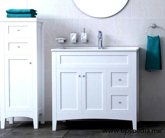 bathroom side cabinet white