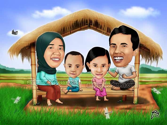 Jasa Pesan Gambar Karikatur Wajah Digital Online Hadiah Gift