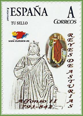Sello personalizado dedicado a Alfonso II en la serie Reyes de Asturias