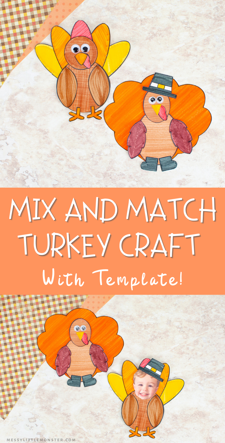 Turkey template to make turkey craft for kids. Use the mix and match turkey craft template to make a Thanksgiving craft.