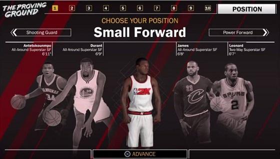 Choose Your Position; Menu; NBA 2K18; Small Forward