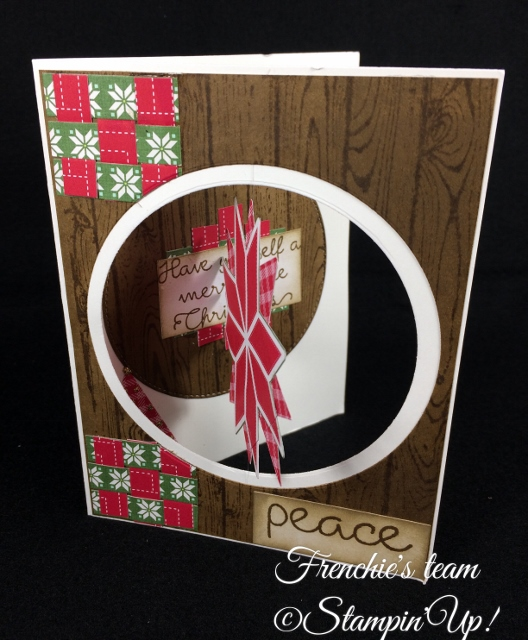Quilted Christmas Designer paper, Stampin'Up!, Frenchie' Team, Floating opening Greeting Card,