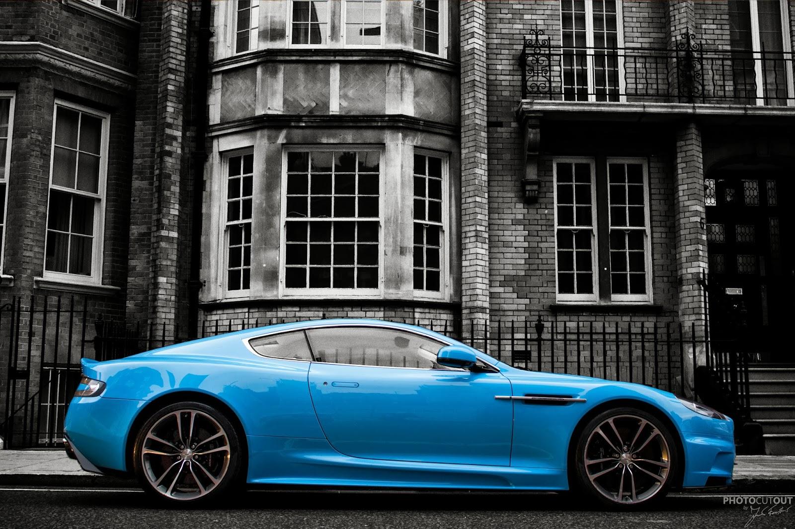 Photocutout Baby Blue Aston Martin Dbs From Qatar Around London