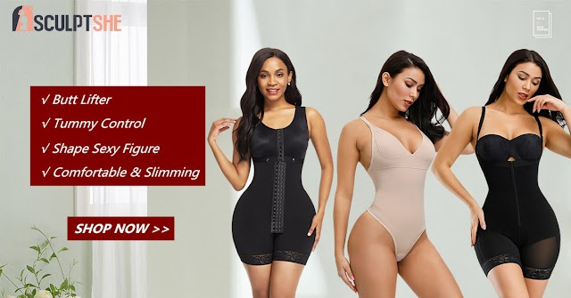 Get in Shape with Sculptshe Best Shapewear Bodysuits and Double Belt Waist Trainer.