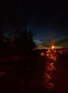 dark, road, street lights
