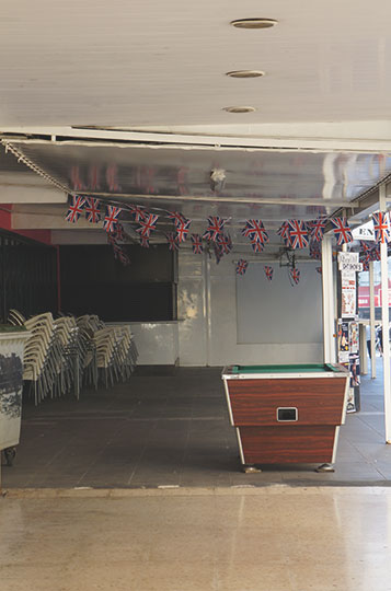 contemporary, photo, travel photography, empty bar, Spain, Sam Freek, union jack,
