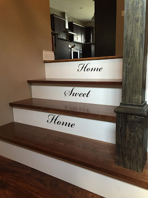 #millsnewhouse, stairs, stair railing, vinly lettering, home sweet home