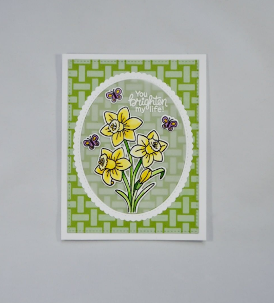 You brighten my life by Kristi features Daffodils and Basketweave by Newton's Nook Designs; #newtonsnook, #inkypaws, #springcards, #cardmaking