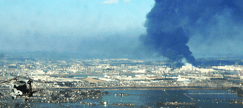 aerial view of explosions at Fukushima Daiichi nuclear power plant (photo by US Navy)