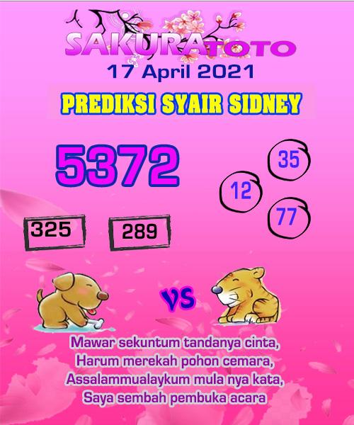 Syair Sakuratoto Sidney Sabtu 17 April 2021