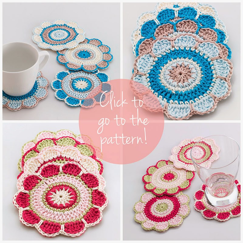Spring flower coaster pattern by Anabelia