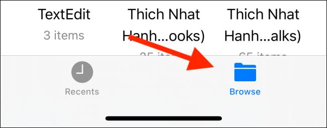 قم بالتبديل إلى علامة التبويب استعراض في تطبيق الملفات
