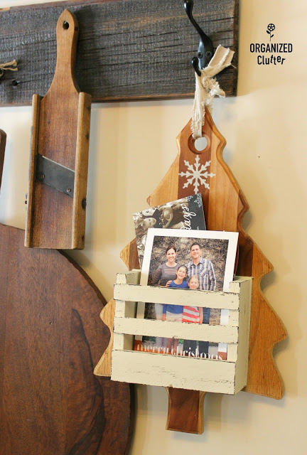 Photo of a Christmas cutting board card holder