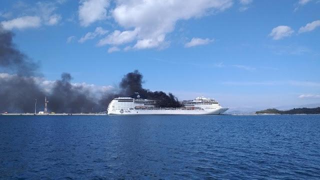 Στις φλόγες το κρουαζιερόπλοιο MSC Lirica στην Κέρκυρα