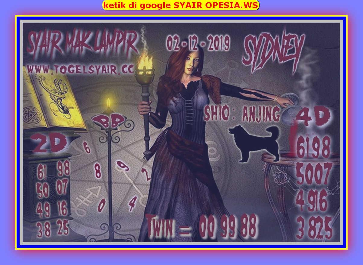 Kode syair Sydney Senin 2 Desember 2019 146