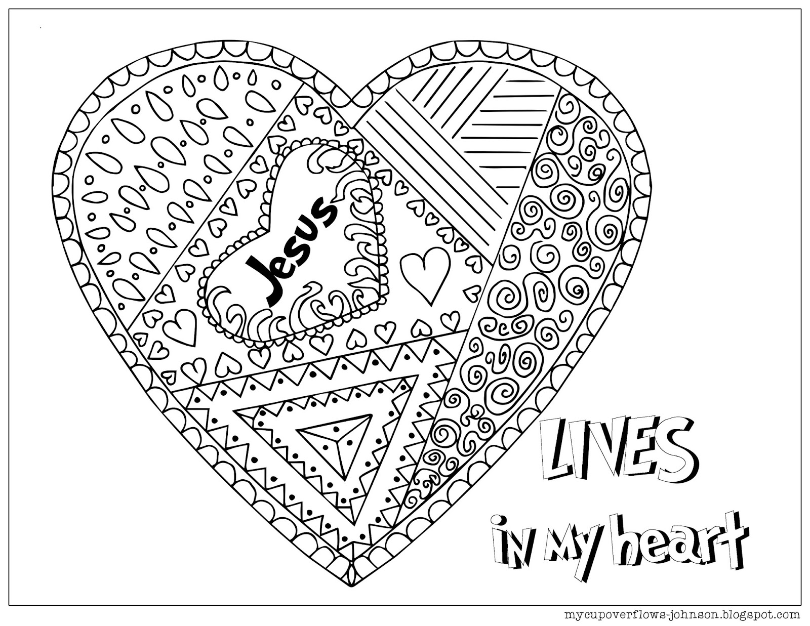 My Cup Overflows Coloring Pages For Valentines Day